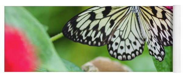 Black And White Butterfly Yoga Mat