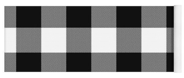 Black And White Gingham Large- Art By Linda Woods Yoga Mat