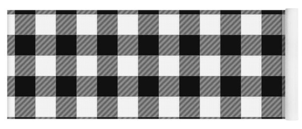 Black And White Gingham Small- Art By Linda Woods Yoga Mat