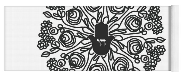 Black And White Hamsa Mandala- Art By Linda Woods Yoga Mat