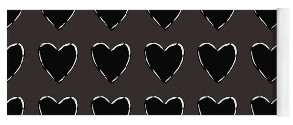 Black And White Hearts 1- Art By Linda Woods Yoga Mat