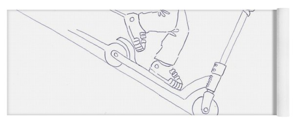 Black And White Micro Scooter Downhill Drawing Yoga Mat