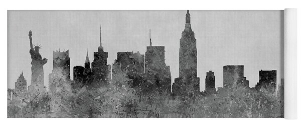 Yoga Mat featuring the digital art Black And White New York Skylines Splashes And Reflections by Georgeta Blanaru
