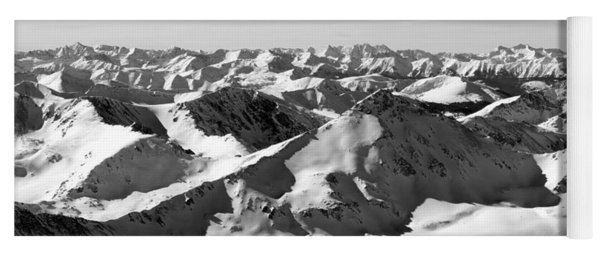 Black And White Of The Summit Of Mount Elbert Colorado In Winter Yoga Mat