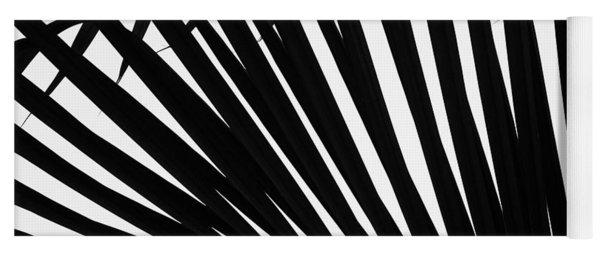 Black And White Palm Branch Yoga Mat