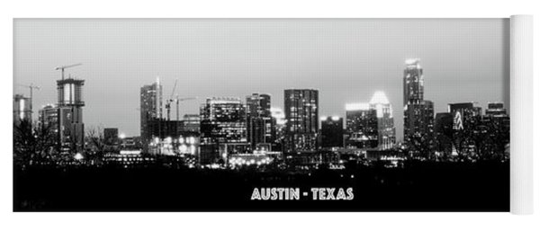 Black And White Panoramic View Of Downtown Austin Yoga Mat