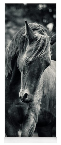 Black And White Portrait Of Horse Yoga Mat