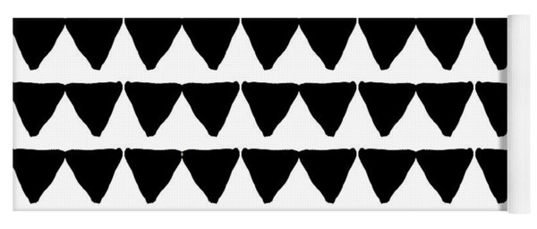 Black And White Triangles- Art By Linda Woods Yoga Mat