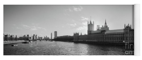 Black And White View Of Thames River And House Of Parlament From Yoga Mat