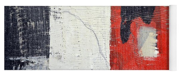 Yoga Mat featuring the painting Black And White With Red Box by Michelle Calkins