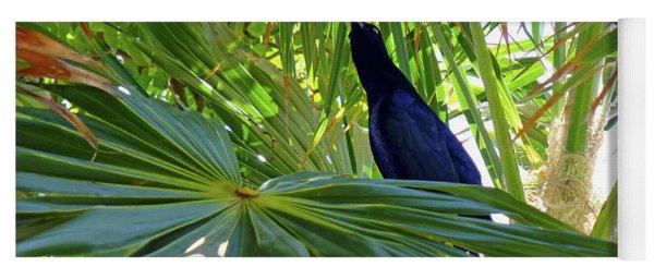 Black Bird And Green Leaf Yoga Mat