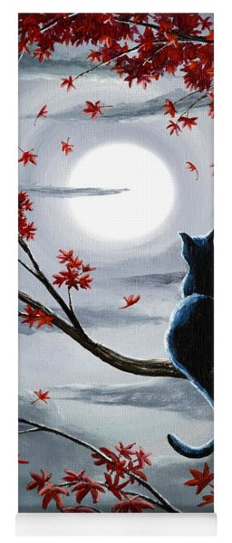 Black Cat In Silvery Moonlight Yoga Mat