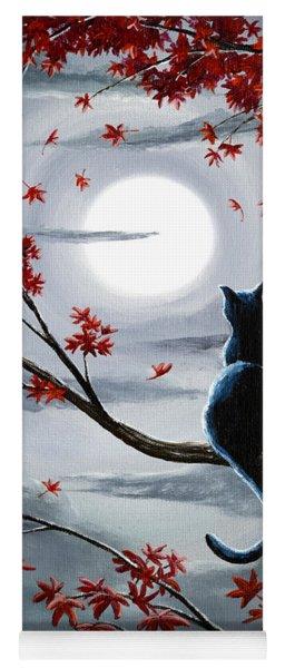 Black Cat In Silvery Moonlight Yoga Mat