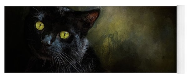 Black Cat Portrait Yoga Mat