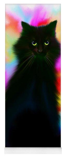 Black Cat Rainbow Sky Yoga Mat
