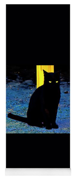 Black Cat Yellow Eyes Yoga Mat