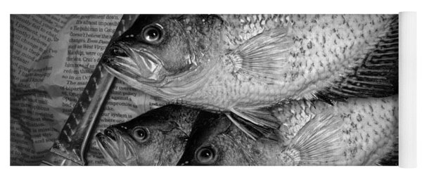 Black Crappie Panfish With Fish Filet Knife In Black And White Yoga Mat