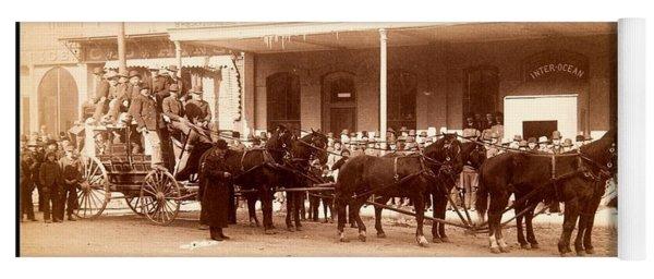 Black Hills Coach At The Inter Ocean Hotel Cheyenne Wyoming 1887 Yoga Mat