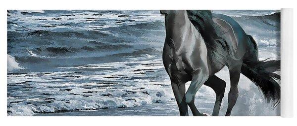 Black Horse Running Through Water Yoga Mat
