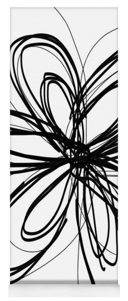 Black Ink Flower 1- Art By Linda Woods Yoga Mat