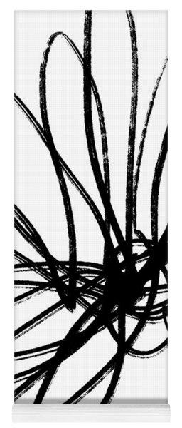 Black Ink Flower 2- Art By Linda Woods Yoga Mat