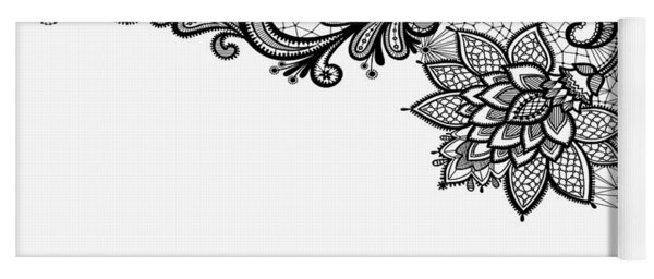 Yoga Mat featuring the digital art Black Lace Print On White by Marianna Mills