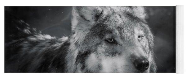 Black N White Wolf Yoga Mat