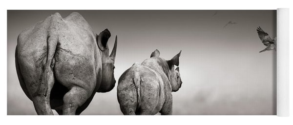 Black Rhino Cow With Calf  Yoga Mat