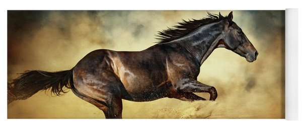 Black Stallion Horse Galloping Like A Devil Yoga Mat