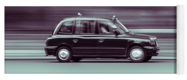 Black Taxi Bw Blur Yoga Mat