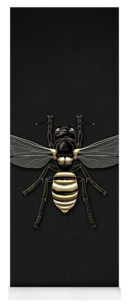 Black Wasp With Gold Accents On Black  Yoga Mat