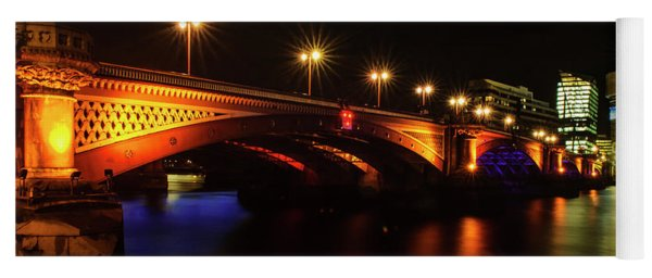Blackfriars Bridge Illuminated In Orange Yoga Mat