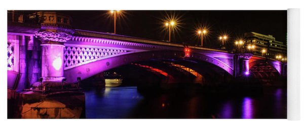 Blackfriars Bridge Illuminated In Purple Yoga Mat