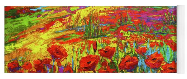 Blanket Of Joy Modern Impressionistic Oil Painting Of Poppy Flower Field Yoga Mat
