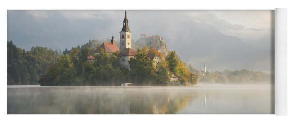 Bled Lake On A Beautiful Foggy Morning Yoga Mat