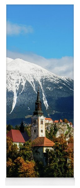 Bled Lake With Snow On The Mountains In Autumn Yoga Mat
