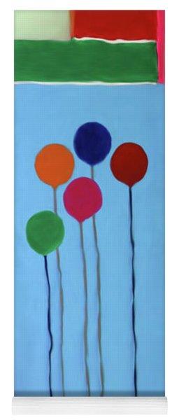 Yoga Mat featuring the mixed media Blocks And Balloons by Deborah Boyd