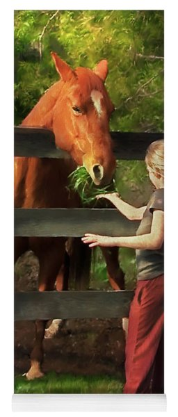 Blond With Horse Yoga Mat