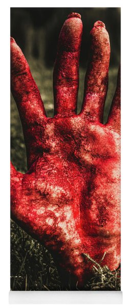 Blood Stained Hand Coming Out Of The Ground At Night Yoga Mat