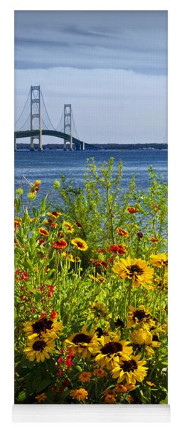 Blooming Flowers By The Bridge At The Straits Of Mackinac Yoga Mat