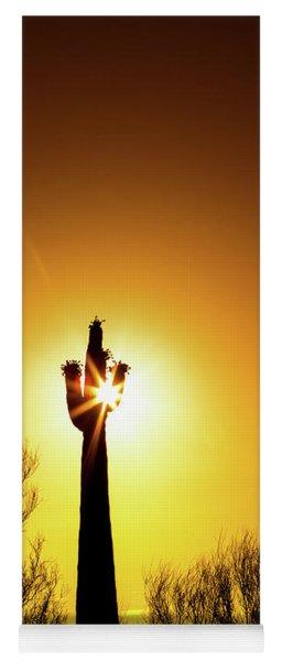 Blooming Saguaro Cactus At Colorful Sunset Yoga Mat