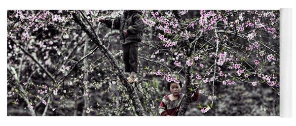 Blossoms Trees Children Ha Giang Northern Vietnam  Yoga Mat