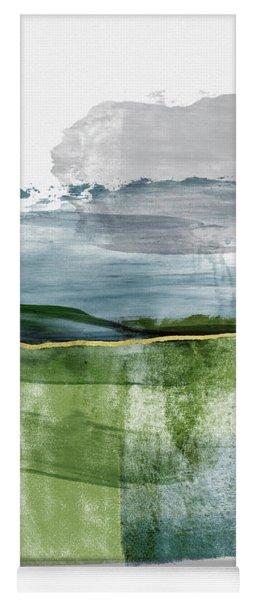 Blue And Green Minimalist Landscape Art By Linda Woods Yoga Mat