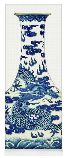 Blue And White Chinese Chinoiserie Dragon Vase Pottery Series,  No 1 By Adam Asar Yoga Mat