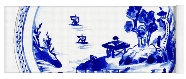 Blue And White Chinese Chinoiserie Plate 2 Yoga Mat