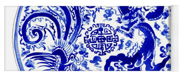 Blue And White Chinese Chinoiserie Plate 3 Yoga Mat