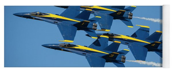 Yoga Mat featuring the photograph Blue Angels Diamond Formation by Adam Romanowicz