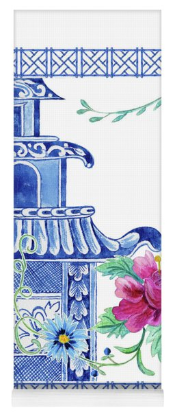 Blue Asian Influence 10 Vintage Style Chinoiserie Floral Pagoda W Chinese Chippendale Border Yoga Mat