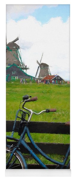 Blue Bicycle And Windmills Yoga Mat
