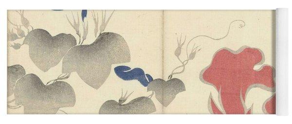 Blue Bindweed And Red Flowers, Nakamura Hochu, 1826 Yoga Mat